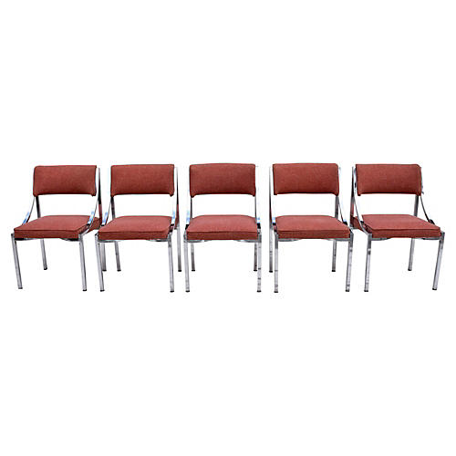 Midcentury Chrome Chairs, Set of 5