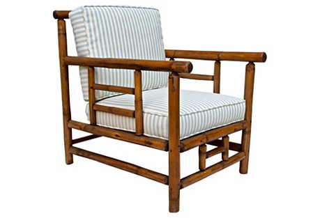 Arts & Crafts-Style Bamboo Club Chair