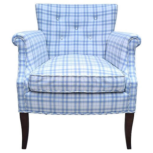 Blue & White Button Tufted Armchair