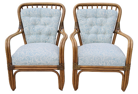 Bamboo-Style Chairs by Palecek, Pair