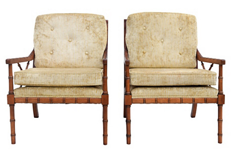 Faux-Bamboo Club Chairs, Pair