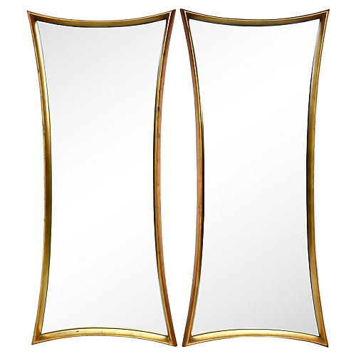 Art Deco-Style Giltwood Mirrors, Pair