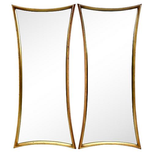 Art Deco-Style Giltwood Mirrors, Pair