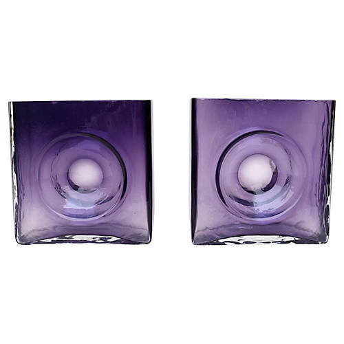 French, Studio Glass Bullseye Vases, S/2