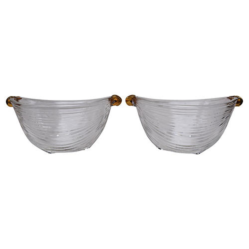 Deco Gilt Glass Footed Bowls, Pair
