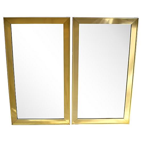 Mersman Brass Mirrors, Pair