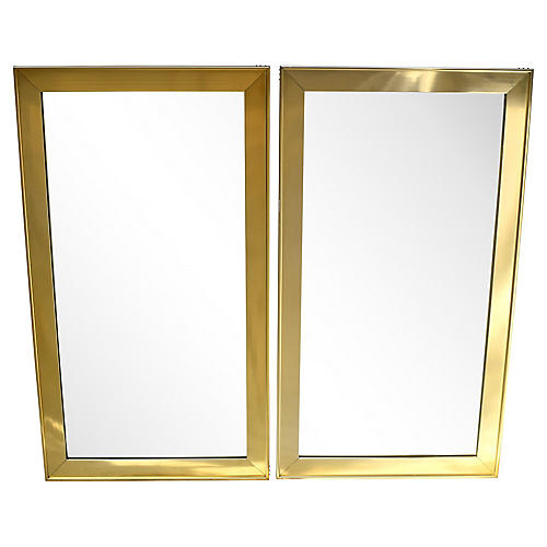Mersman Brass Mirrors, Pair