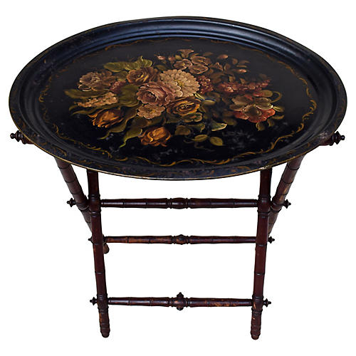 Antique Tole Tray Table