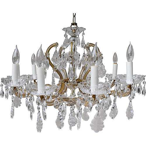 French Crystal & Brass Chandelier