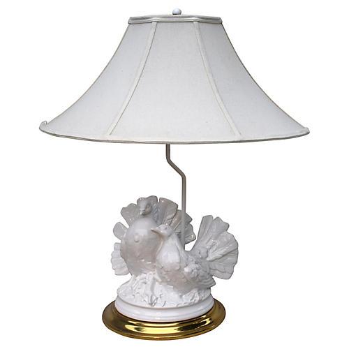 Blanc De Chine Fan Tail Dove Lamp