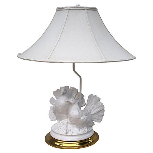 Blanc De Chine Fan Tail Dove Lamp