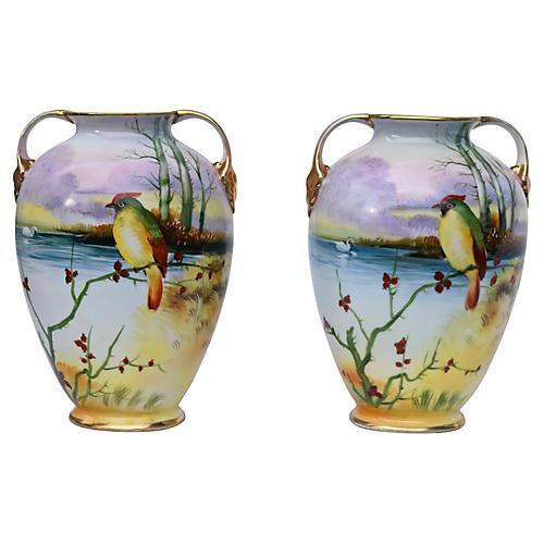 Nippon Vases, Pair