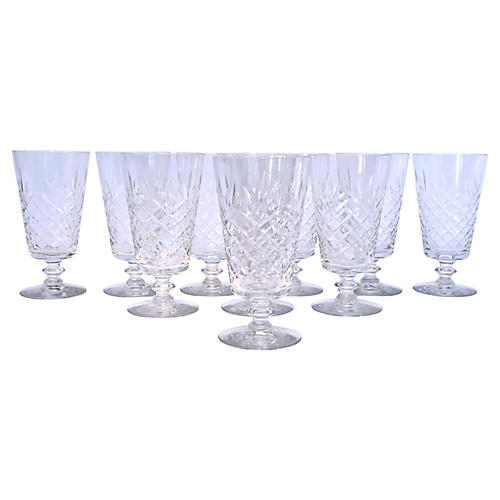 Cut-Crystal Footed Water Goblets, S/10