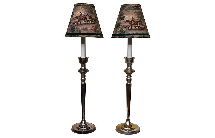 Equestrian Silver Candlestick Lamps, S/2