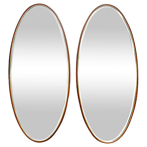 Mid-Century Modern Beveled Mirrors, Pair