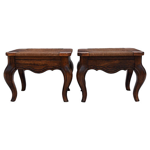 French-Style Hearth Benches, Pair