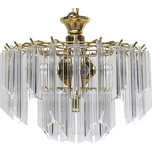 Brass And Lucite Prism Chandelier