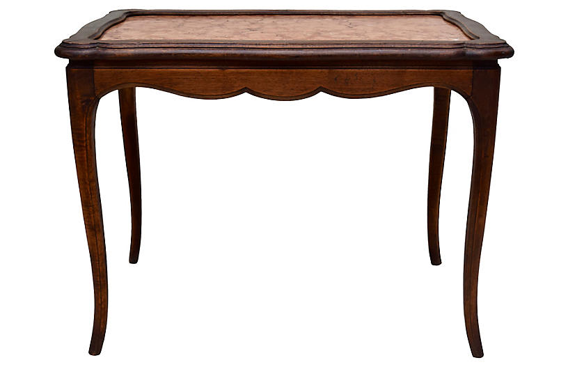 19th C. French Walnut & Marble Table