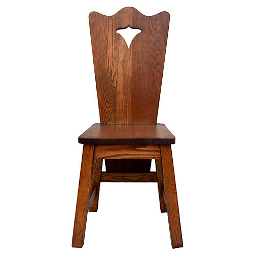 Arts & Crafts Solid Oak Chair