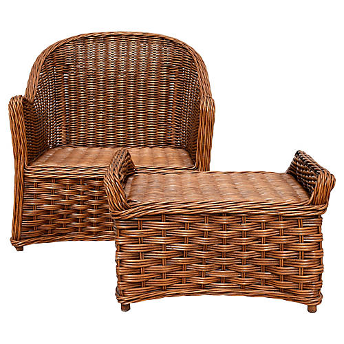Rattan & Wicker Chair and Ottoman Set