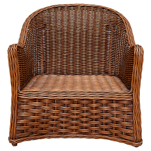 Rattan & Wicker Club Lounge Chair