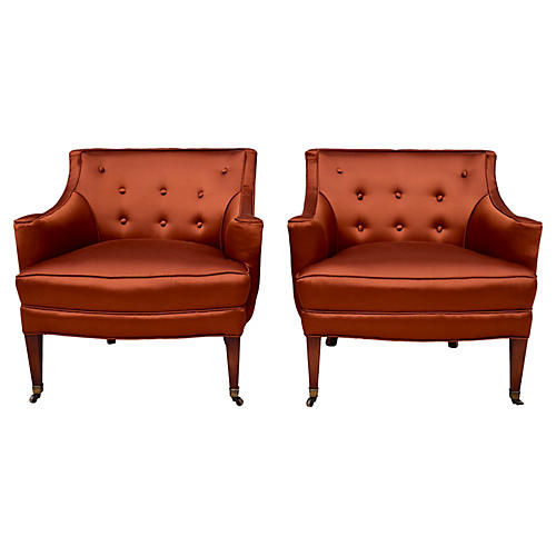 Designer Hollywood Regency Chairs, S/2