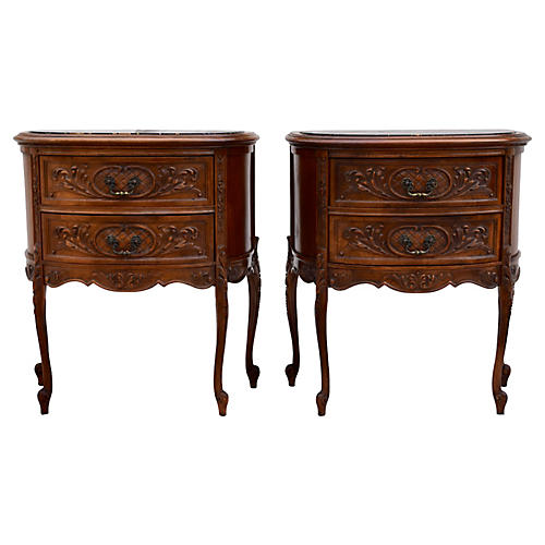 Demilune Marble Top Commodes, Pair