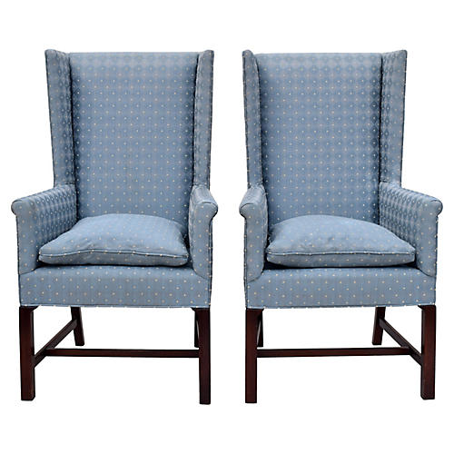 Hickory Chair Wing Back Chairs, Pair