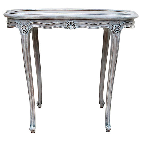French Kidney-Shape Marble-Top Table