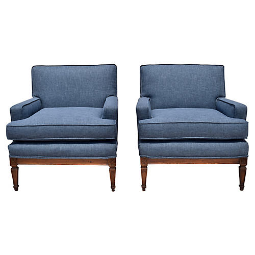 French Indigo Neoclassical Chairs, Pair