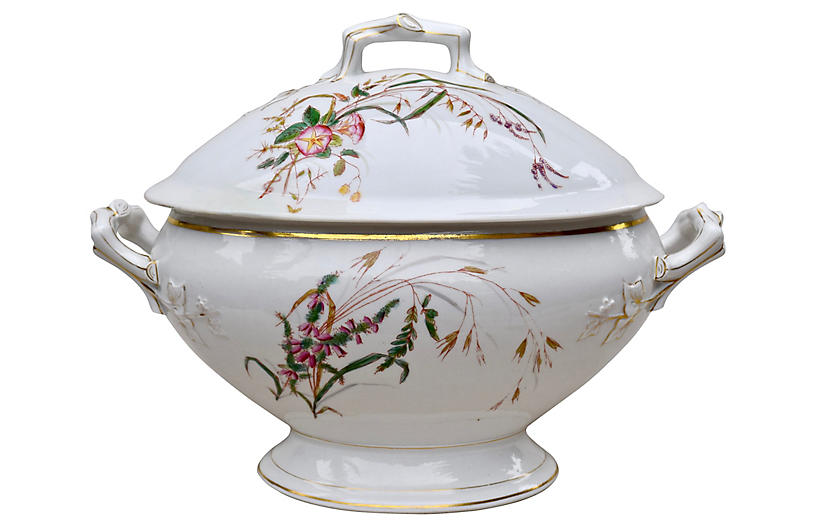 Antique Faux Bamboo Soup Tureen