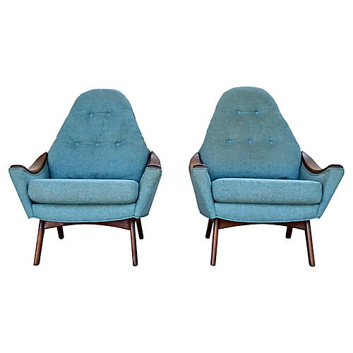 Adrian Pearsall Lounge Chairs, Pr
