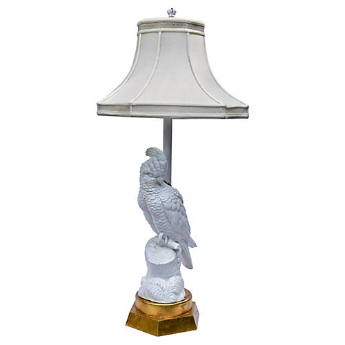 Blanc de Chine Cockatoo Table Lamp