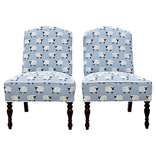 Scalamandré Ewe Too in Blue Chairs, S/2
