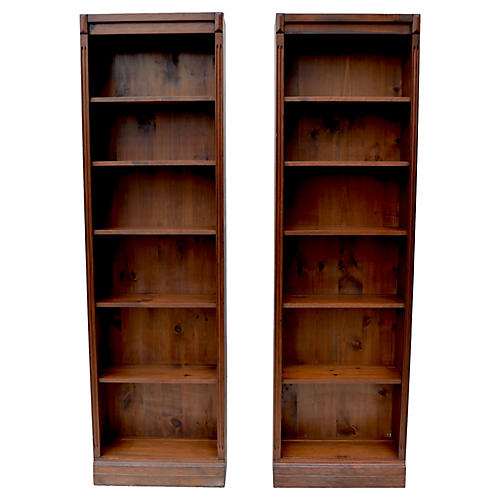 Bennington Pine Bookcases, Pair