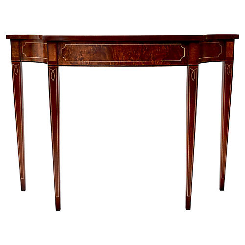 Marquetry Flame Mahogany Console Table