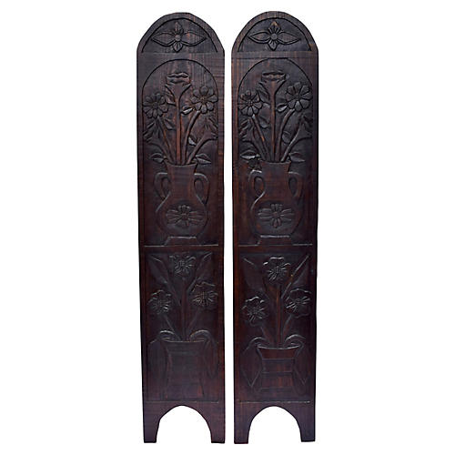 Mexican Hand-Carved Shutters, Pair
