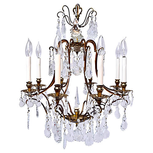 French Cut-Crystal & Brass Chandelier