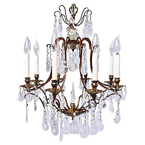French Cut Crystal & Brass Chandelier