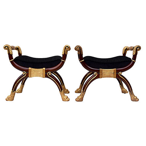 Maitland Smith Neoclassical Benches, S/2