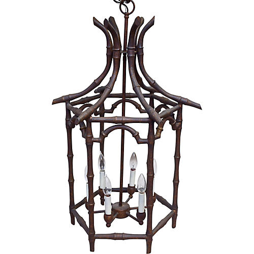 Faux-Bamboo Chinoiserie Chandelier