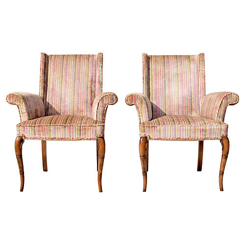 Hollywood Regency Scroll Armchairs, S/2