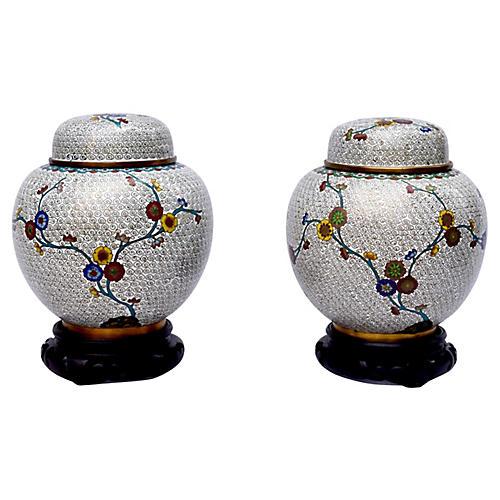 Vintage Cloisonne Ginger Jars, Pair