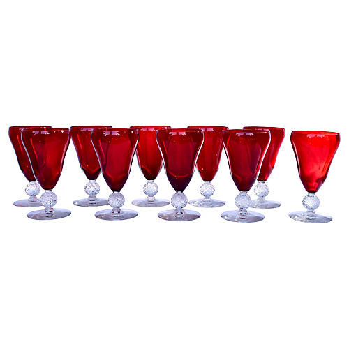 Ruby Drinking Glass Goblets, S/10