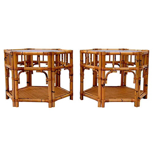 1960's Rattan Hexagon Side Tables, S/2