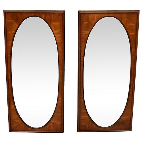 White of Mebane Walnut Oval Mirrors, S/2