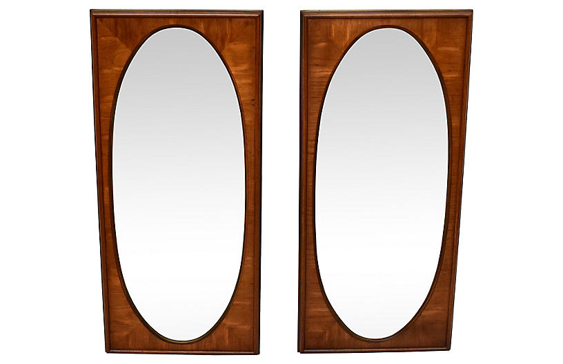 White of Mebane Walnut Oval Mirrors, S/2