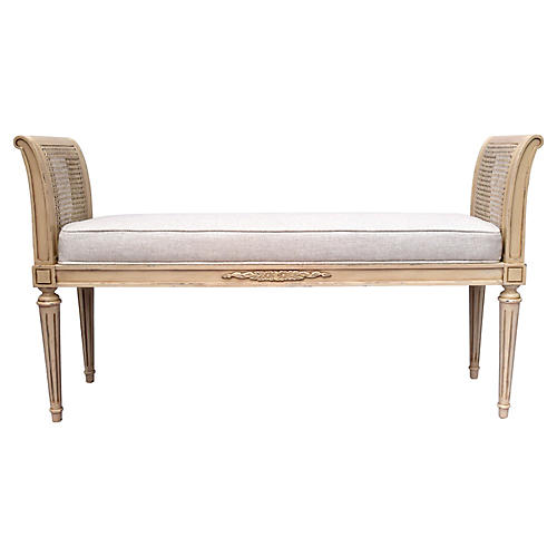 Louis XVI-Style Caned Bench