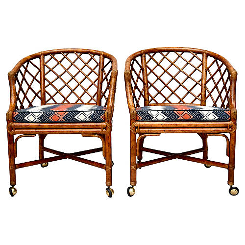 Chinese Chippendale Rattan Barrel Chairs