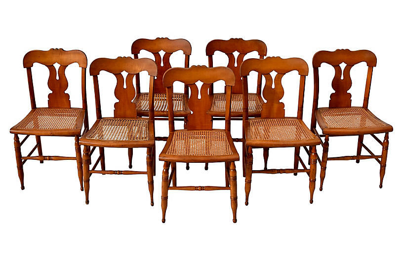 Antique Federal Caned Dining Chairs, S/8